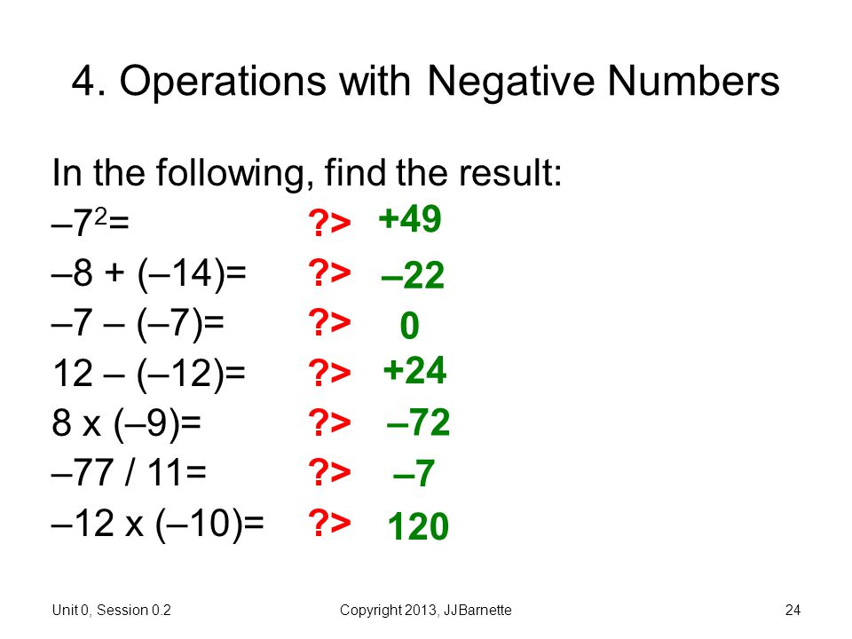 4. Operations with Negative Numbers