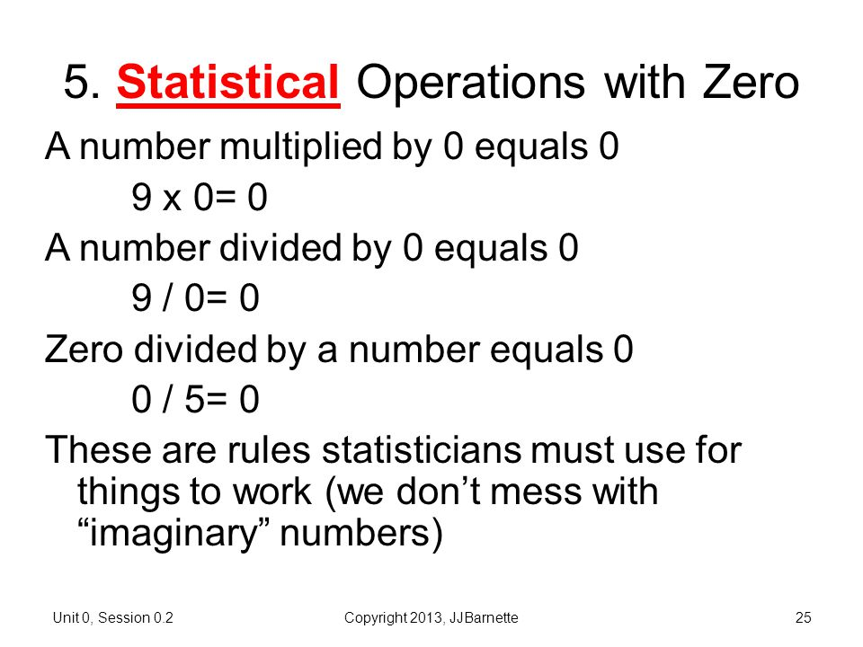 5. Statistical Operations with Zero