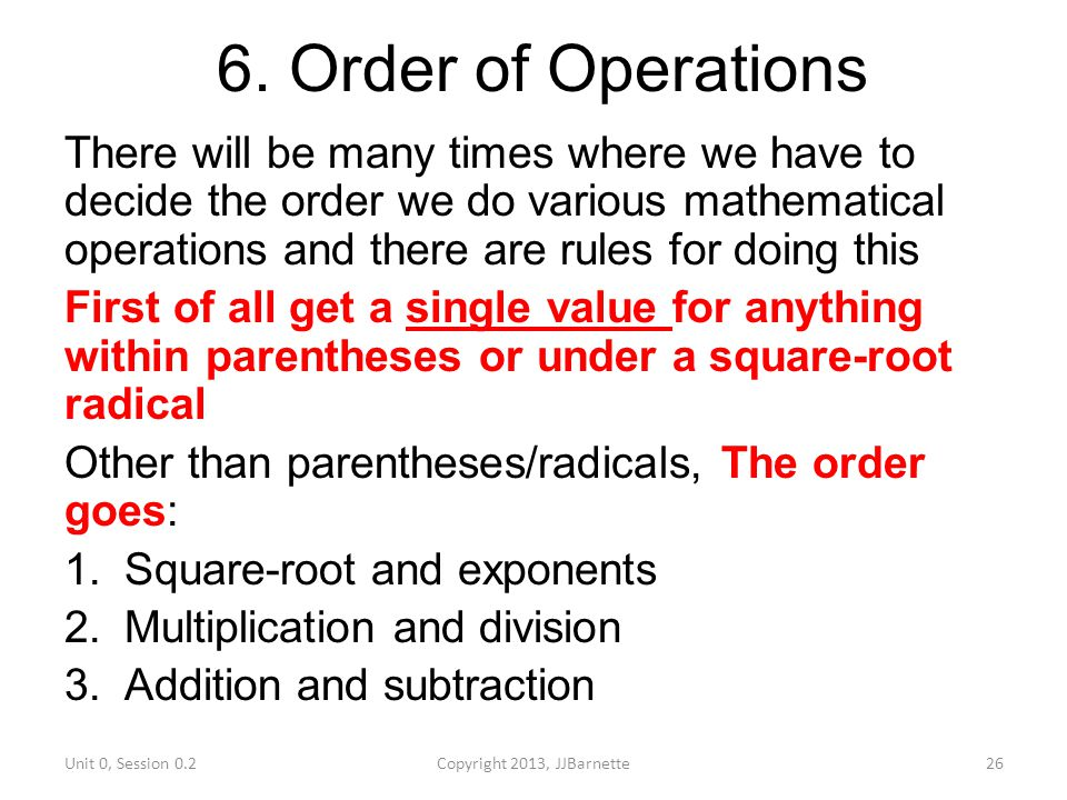 6. Order of Operations