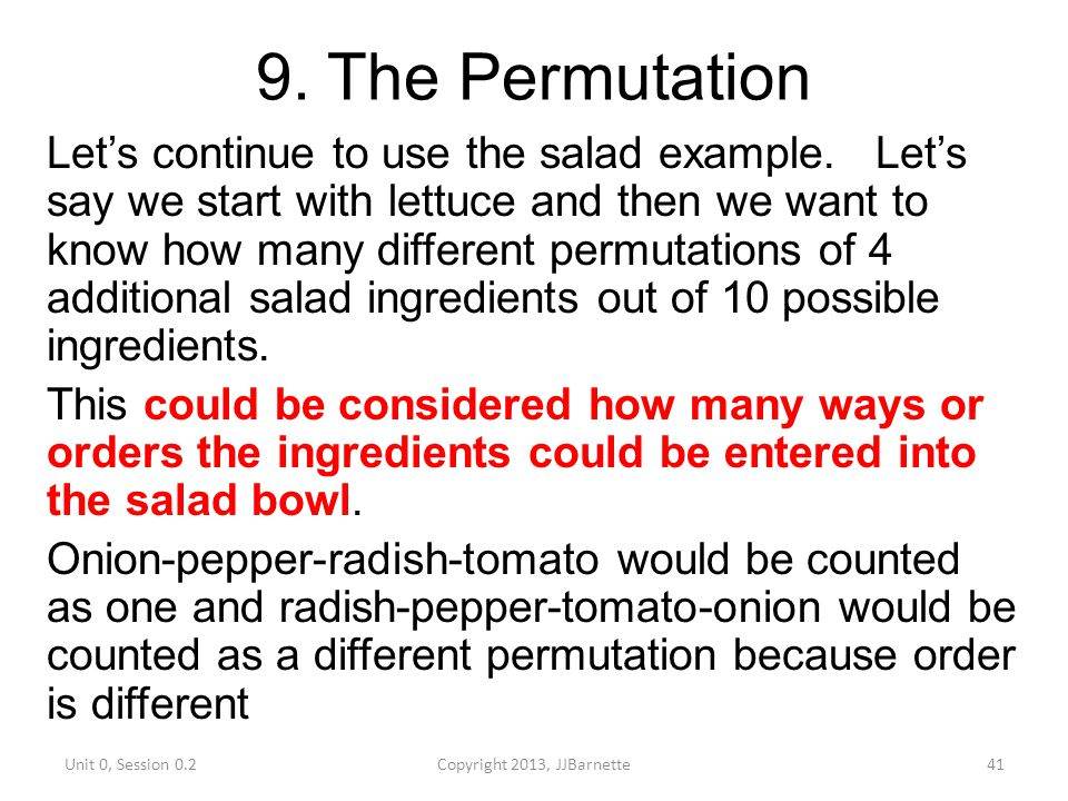 9. The Permutation