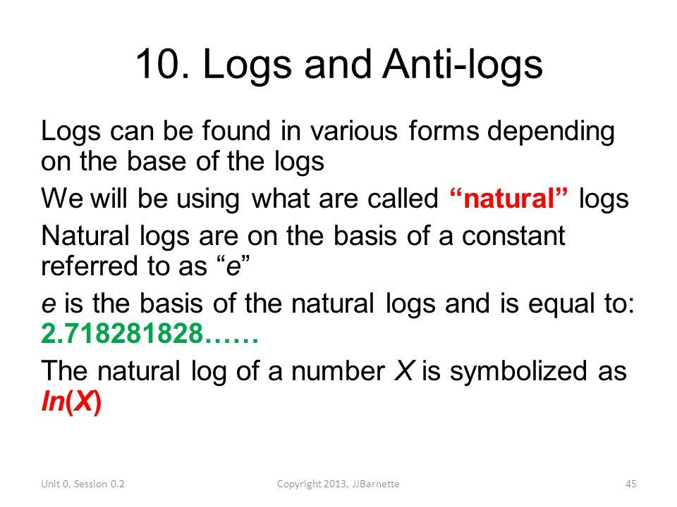 10. Logs and Anti-logs