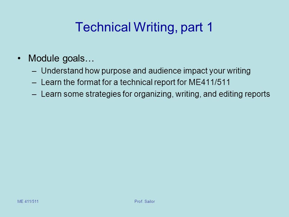 Technical Writing, part 1
