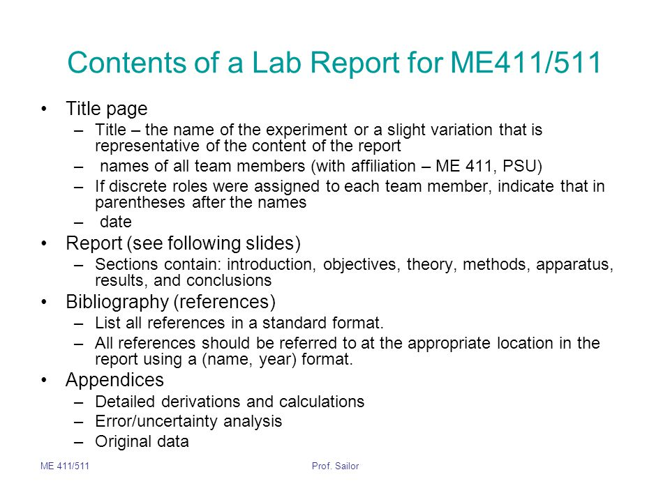 Contents of a Lab Report for ME411/511