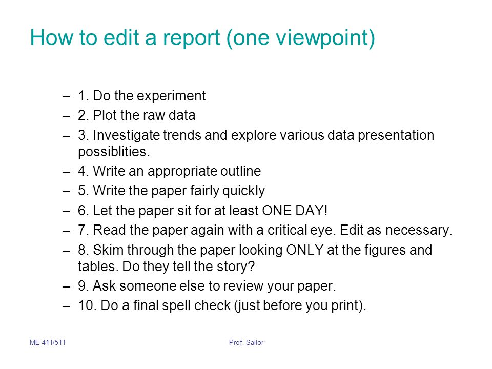 How to edit a report (one viewpoint)