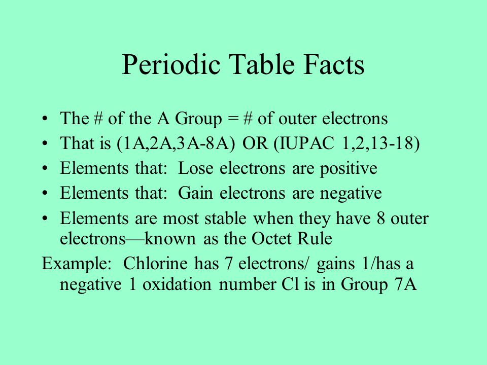 Periodic Table Facts The # of the A Group = # of outer electrons