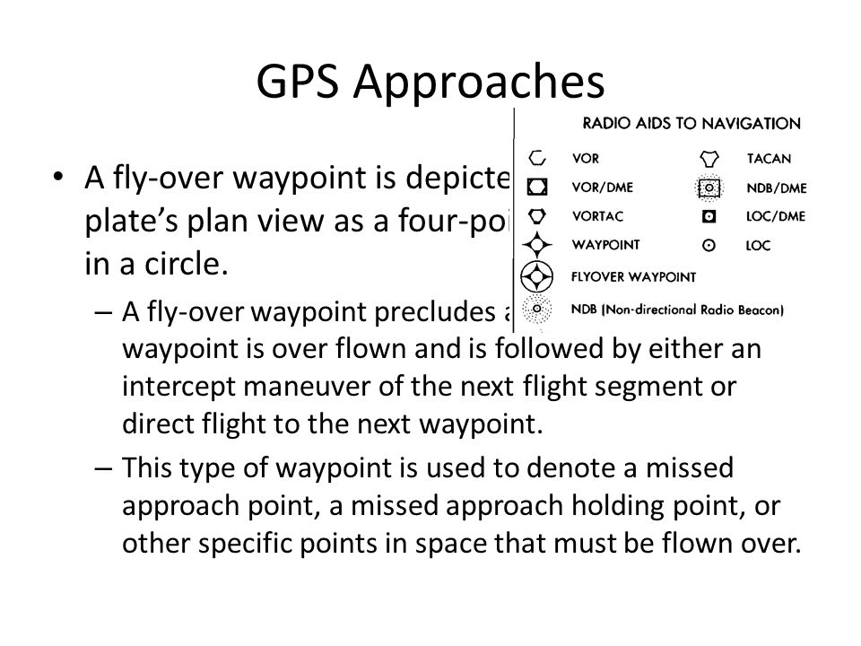 GPS Approaches A fly-over waypoint is depicted on an approach plate's plan view as a four-pointed star enclosed in a circle.