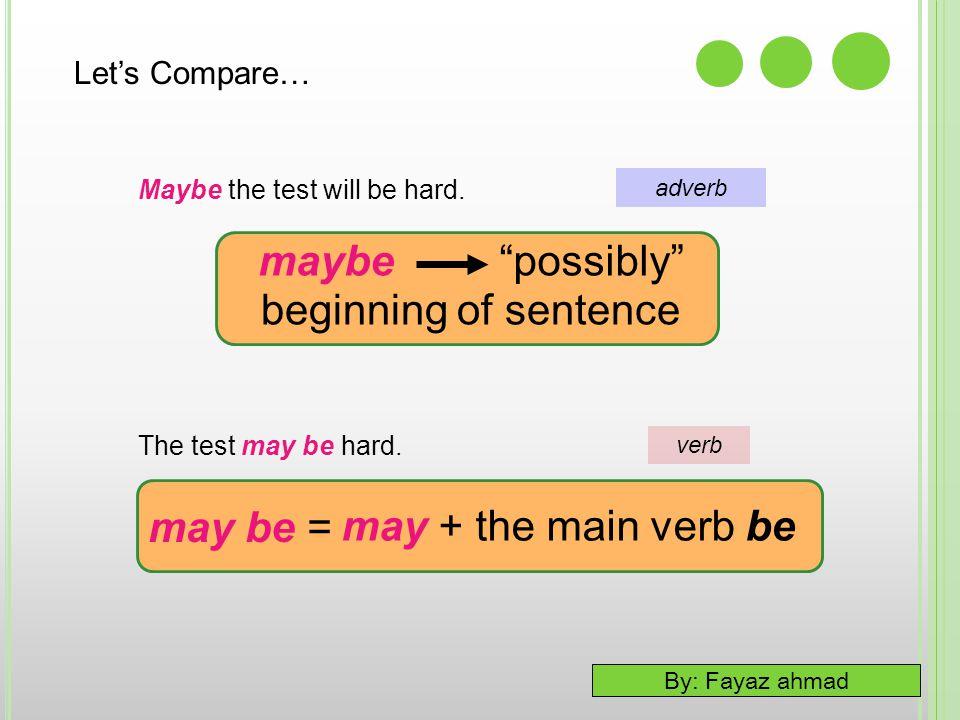maybe possibly beginning of sentence may be = may + the main verb be