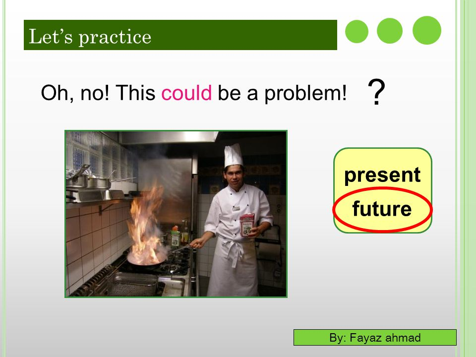 Let's practice Oh, no! This could be a problem! present future 20