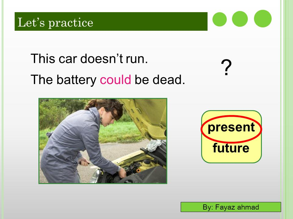 This car doesn't run. The battery could be dead. present future