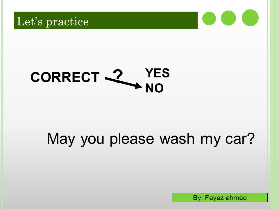 May you please wash my car CORRECT YES NO Let's practice