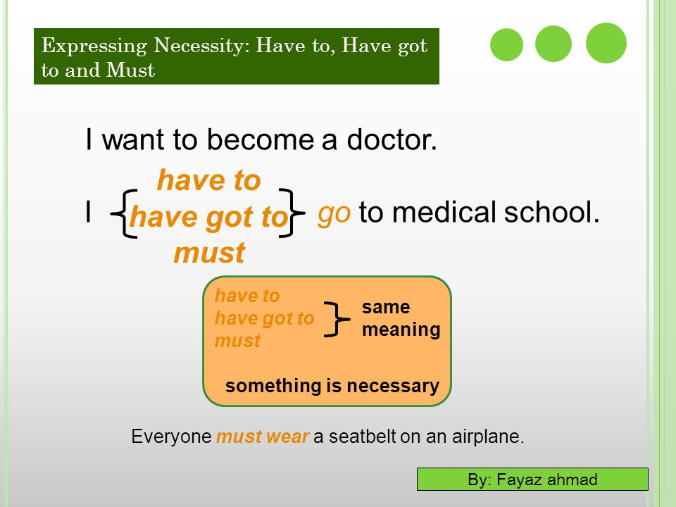 I want to become a doctor. I go to medical school. have to have got to