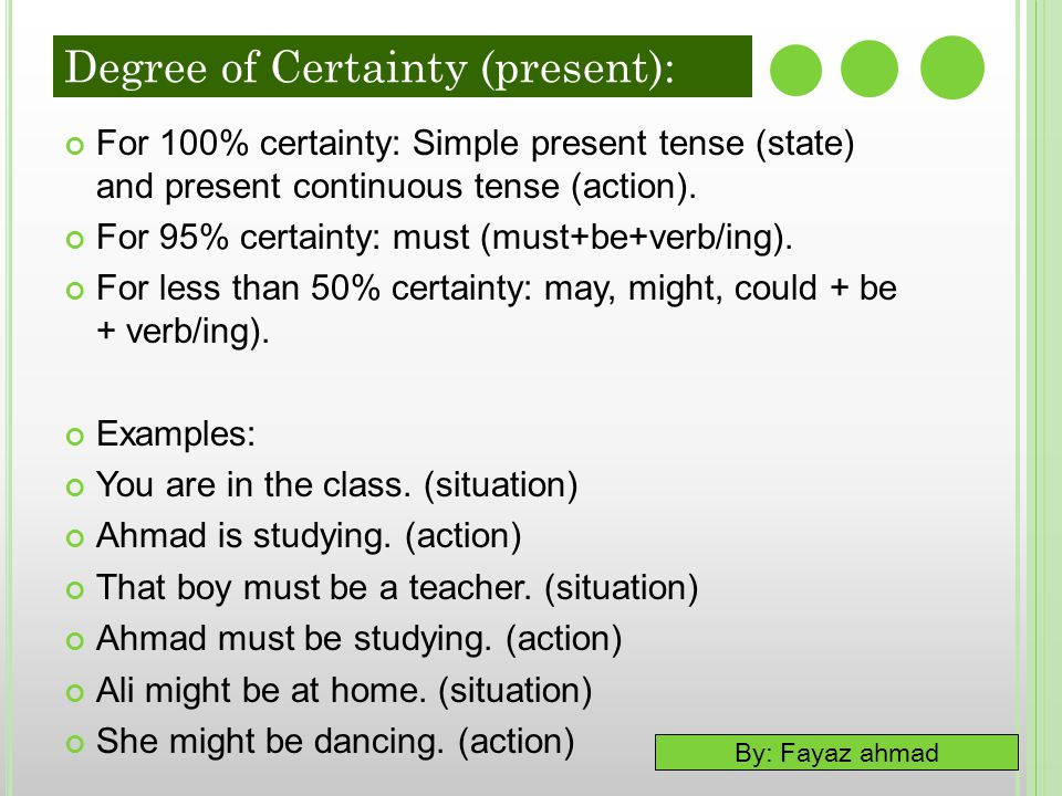 Degree of Certainty (present):