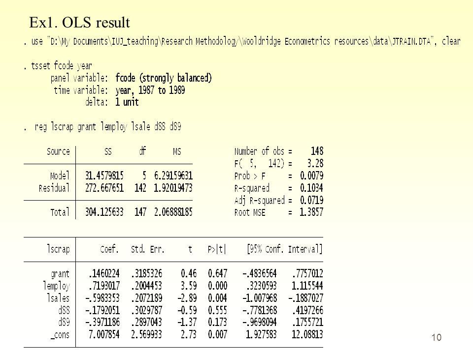 Ex1. OLS result