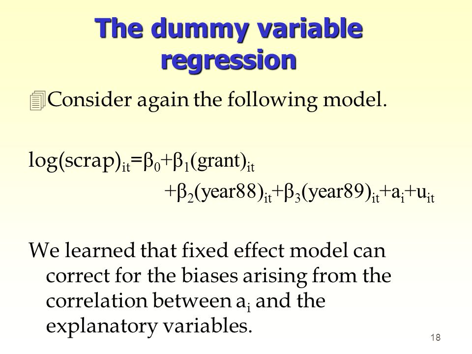 The dummy variable regression