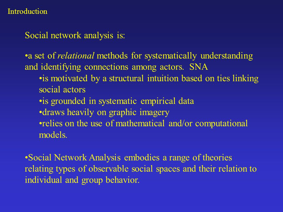 Social network analysis is: