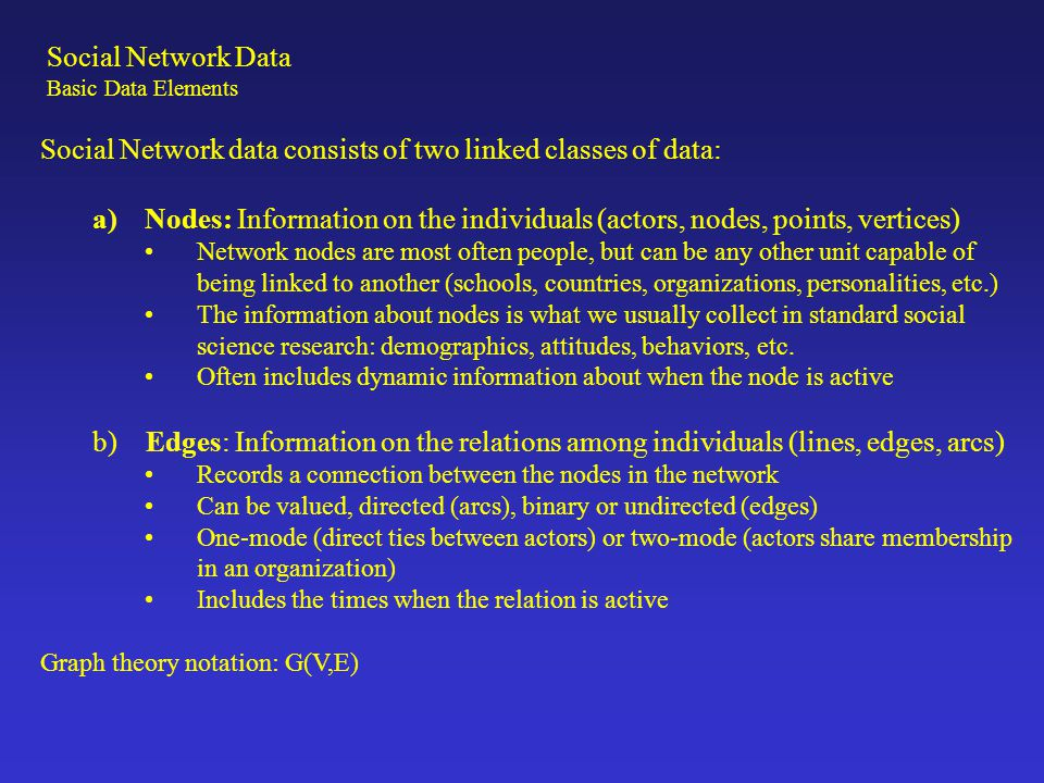 Social Network data consists of two linked classes of data: