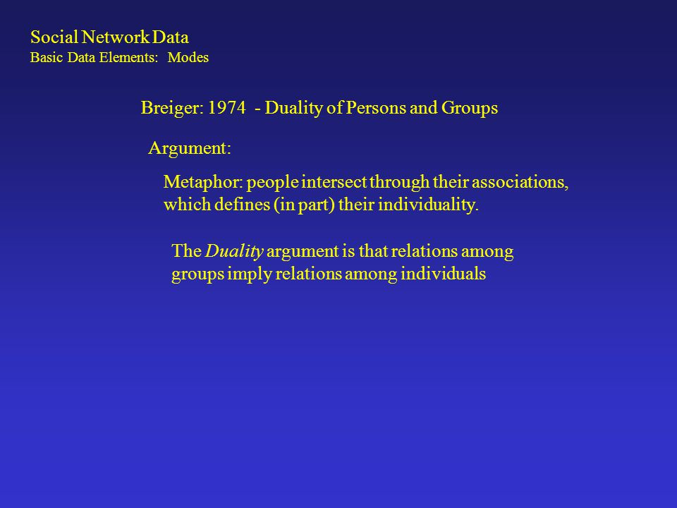 Breiger: 1974 - Duality of Persons and Groups