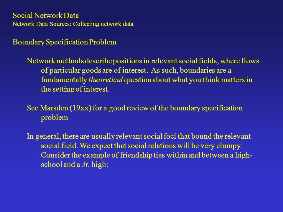 Boundary Specification Problem