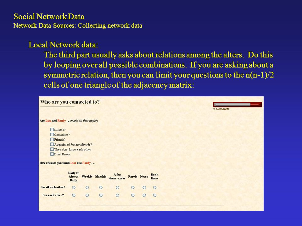 Social Network Data Local Network data:
