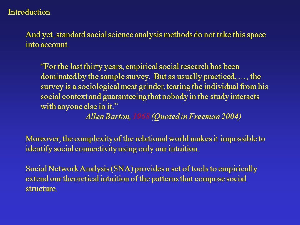 Introduction And yet, standard social science analysis methods do not take this space into account.