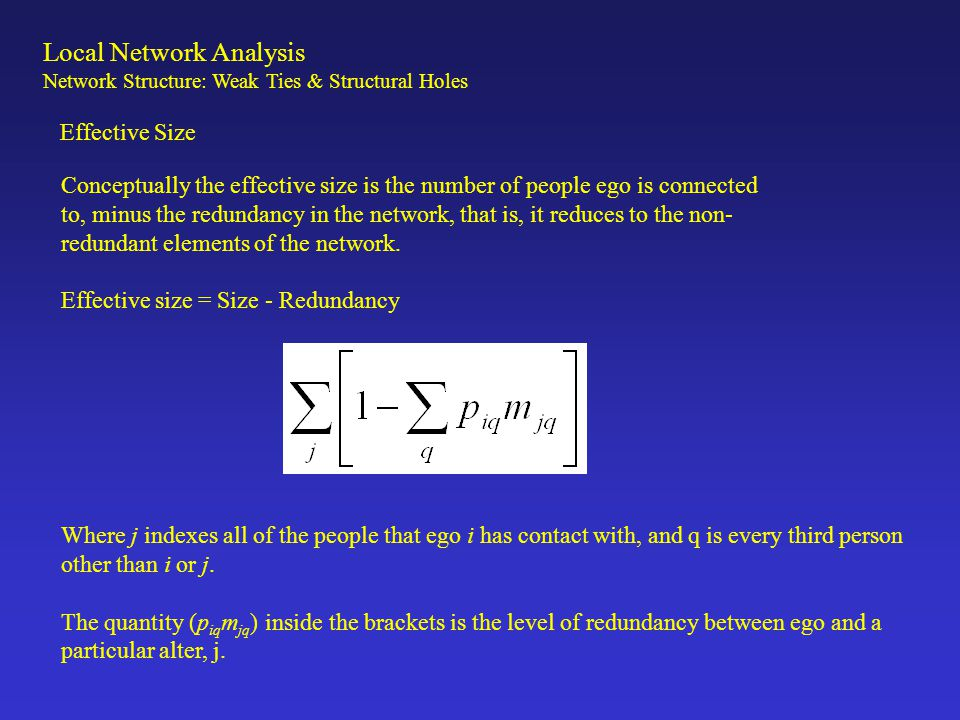 Local Network Analysis