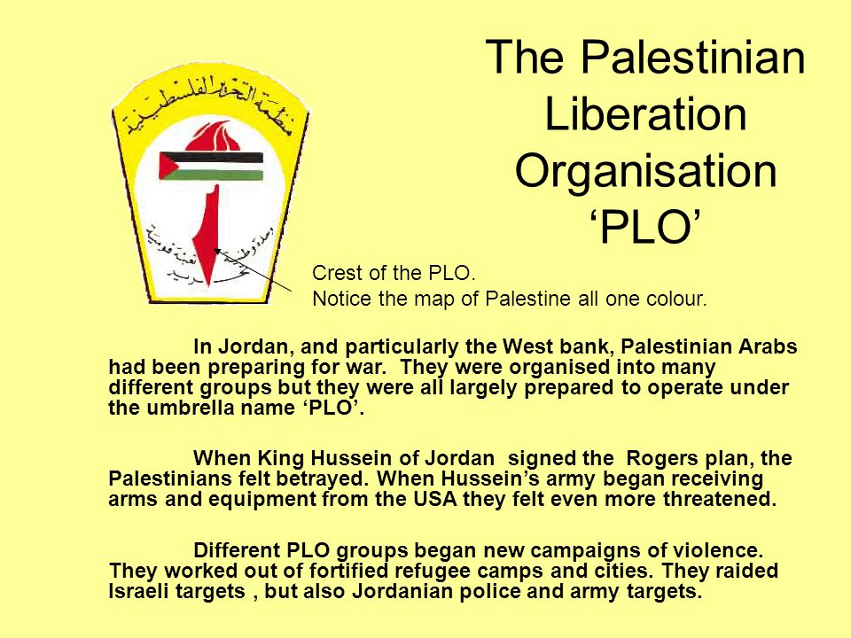 The Palestinian Liberation Organisation 'PLO'