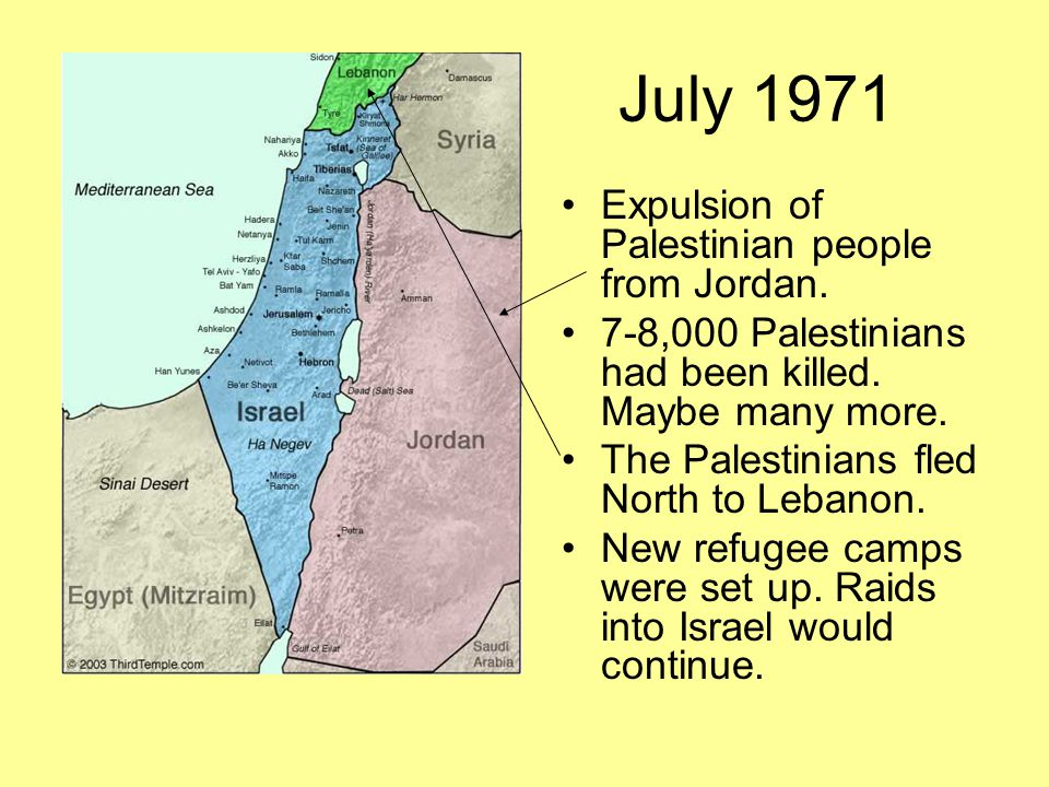 July 1971 Expulsion of Palestinian people from Jordan.