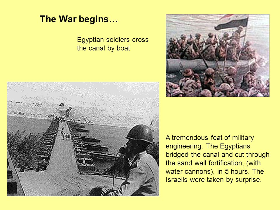 The War begins… Egyptian soldiers cross the canal by boat