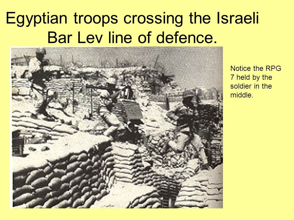 Egyptian troops crossing the Israeli Bar Lev line of defence.