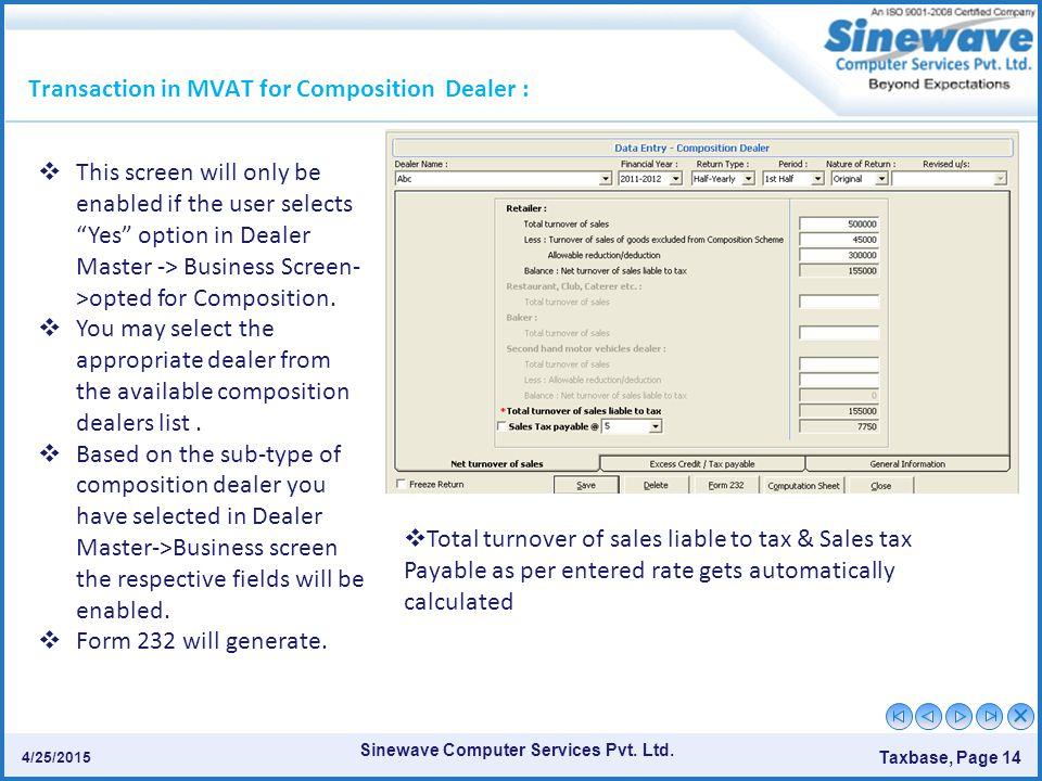 Transaction in MVAT for Composition Dealer :