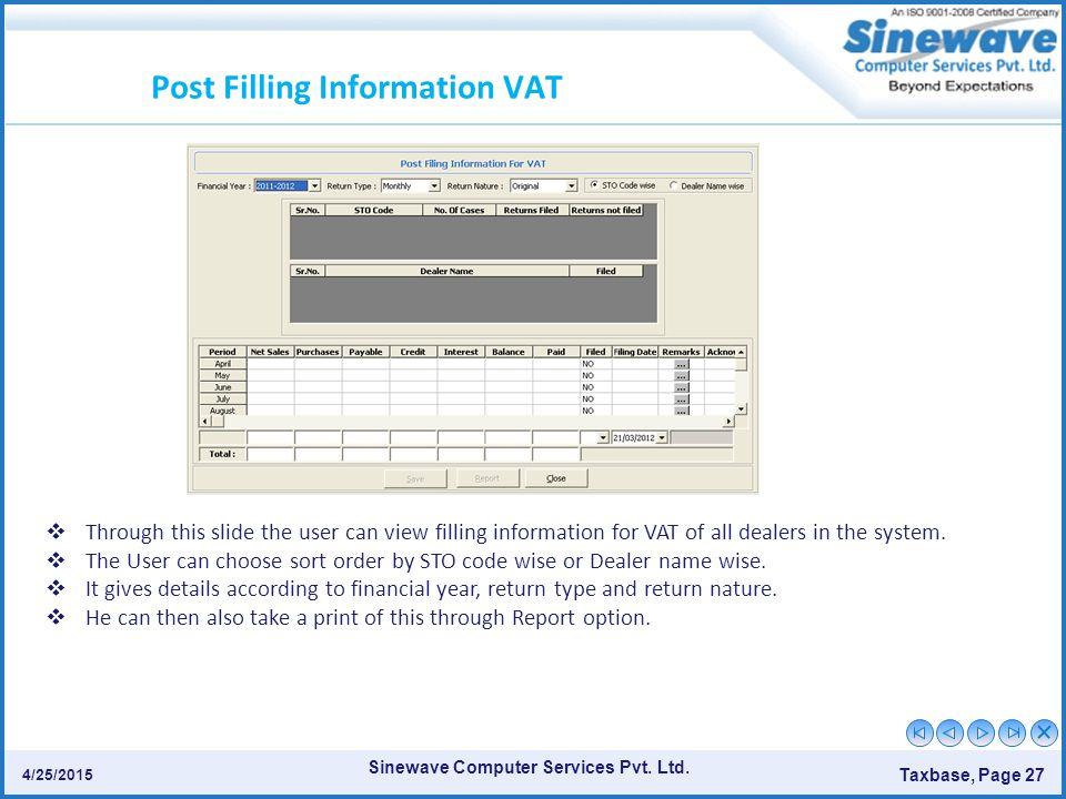 Post Filling Information VAT