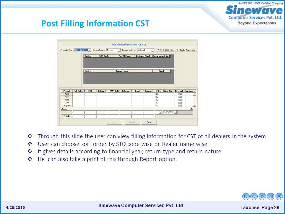 Post Filling Information CST
