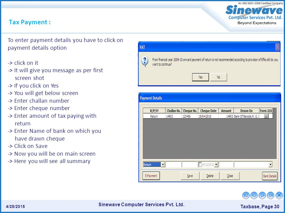 Tax Payment : To enter payment details you have to click on payment details option. -> click on it.