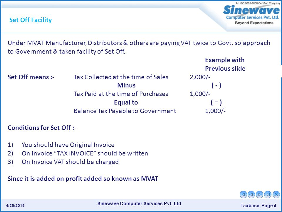 Set Off means :- Tax Collected at the time of Sales 2,000/-