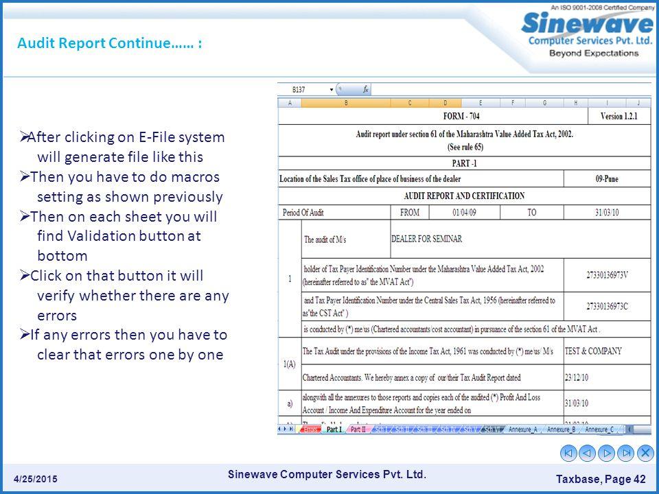 Audit Report Continue…… :