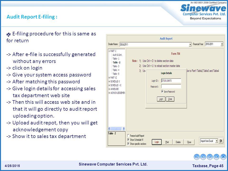 Audit Report E-filing :
