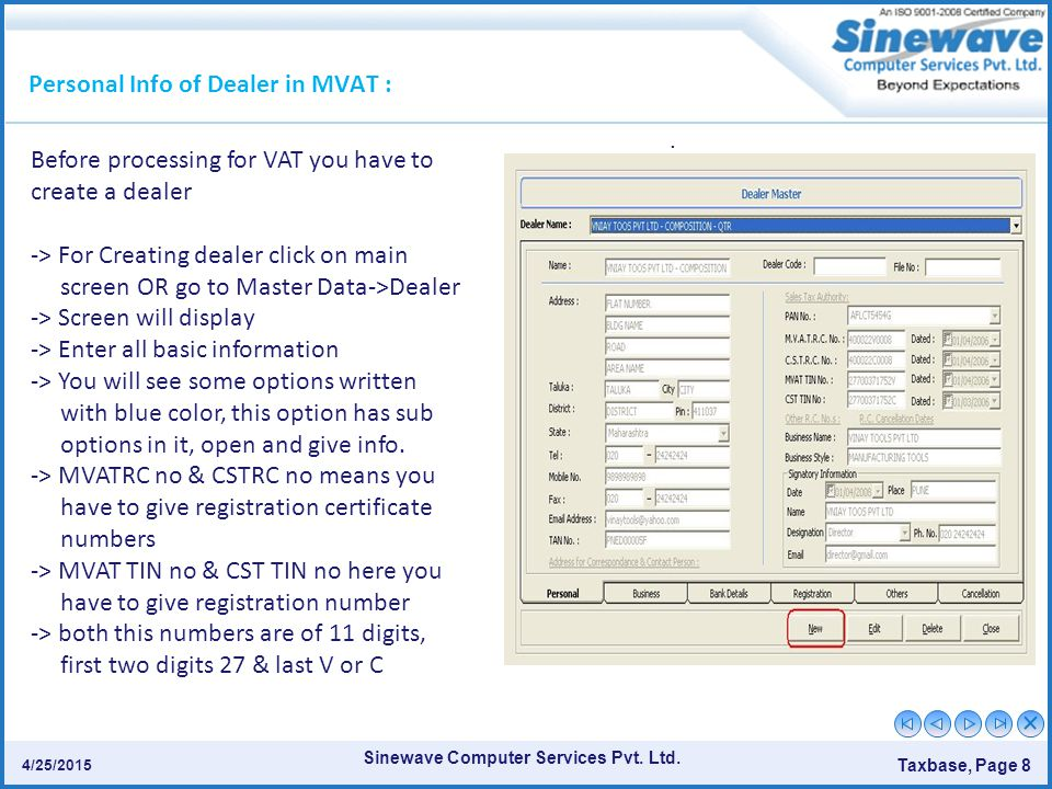 Personal Info of Dealer in MVAT :