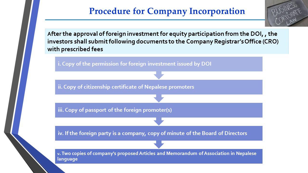 Procedure for Company Incorporation