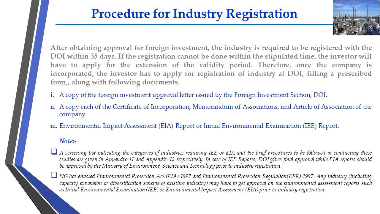 Procedure for Industry Registration