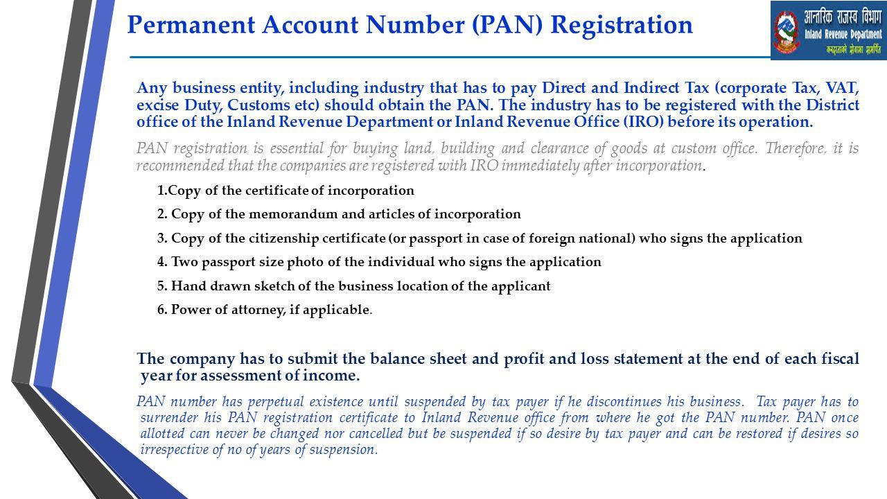 Permanent Account Number (PAN) Registration