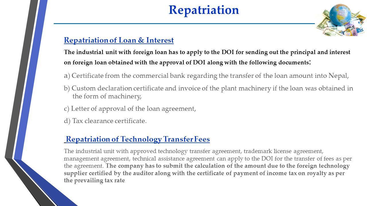 Repatriation Repatriation of Loan & Interest