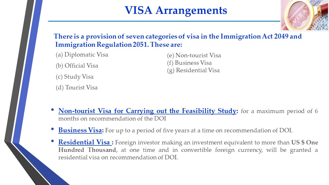 VISA Arrangements There is a provision of seven categories of visa in the Immigration Act 2049 and Immigration Regulation 2051. These are:
