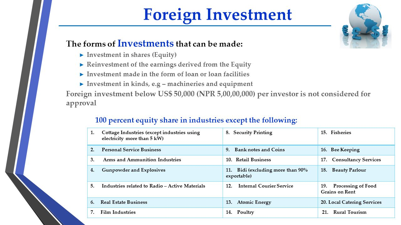 Foreign Investment The forms of Investments that can be made: