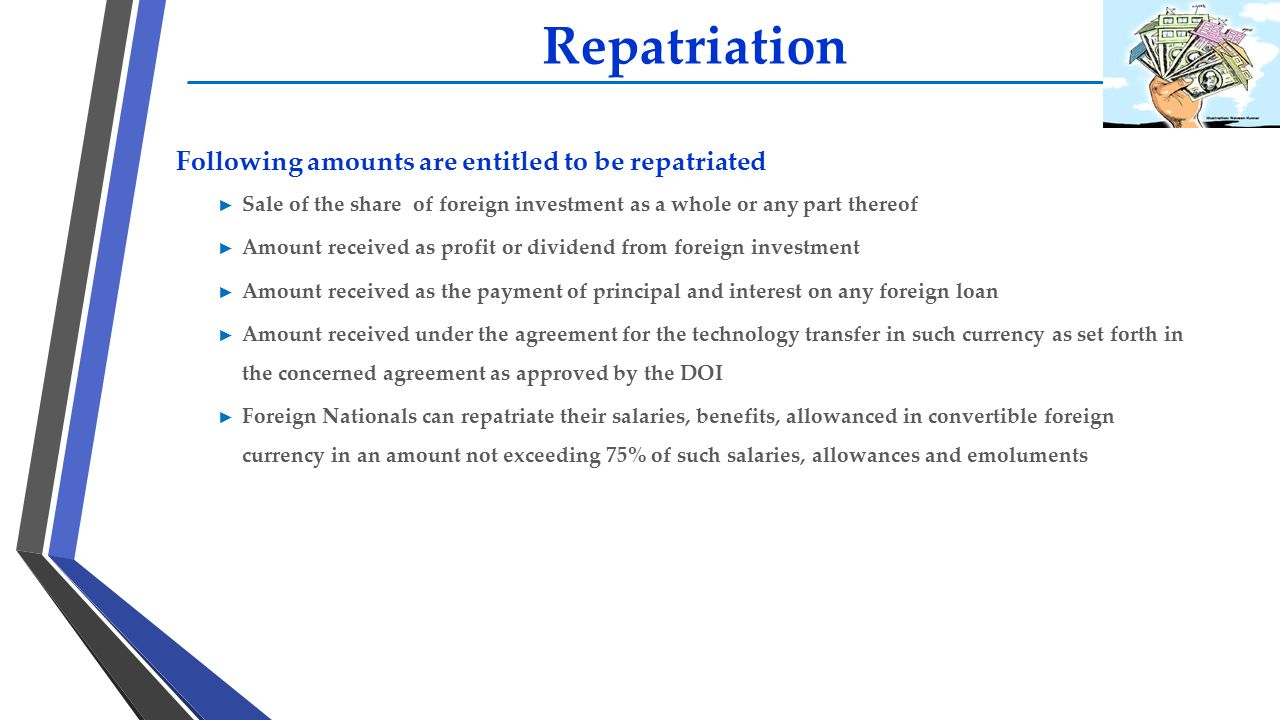 Repatriation Following amounts are entitled to be repatriated