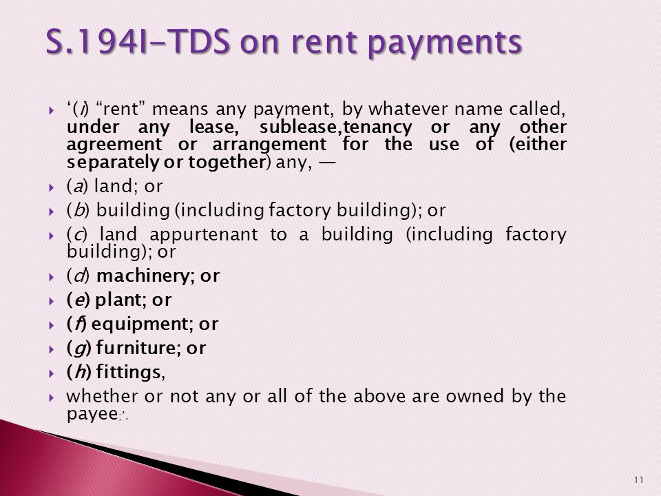 S.194I-TDS on rent payments