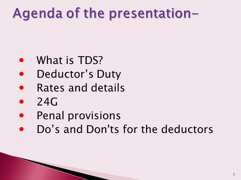 Agenda of the presentation-