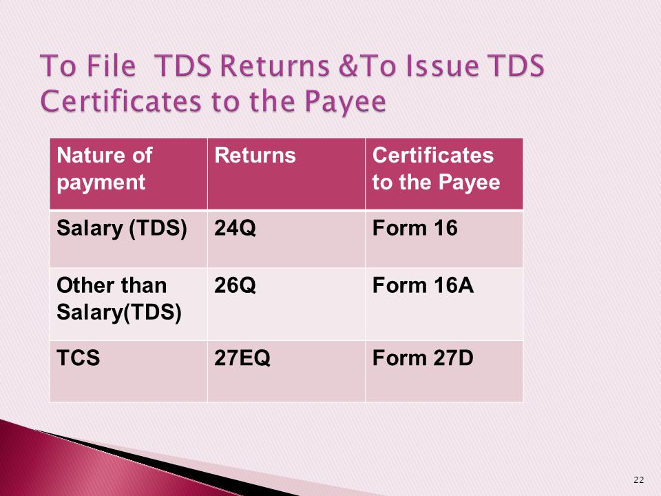 To File TDS Returns &To Issue TDS Certificates to the Payee