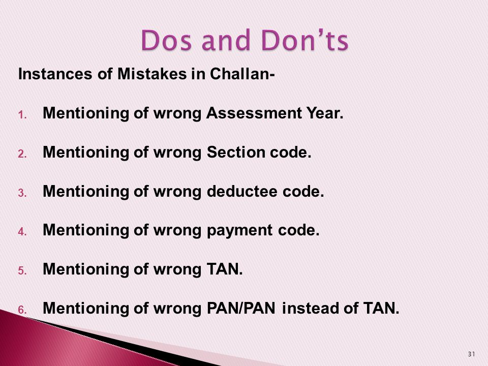 Dos and Don'ts Instances of Mistakes in Challan-