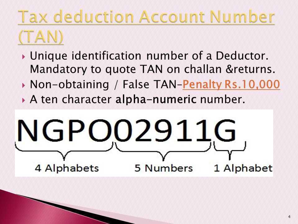 Tax deduction Account Number (TAN)