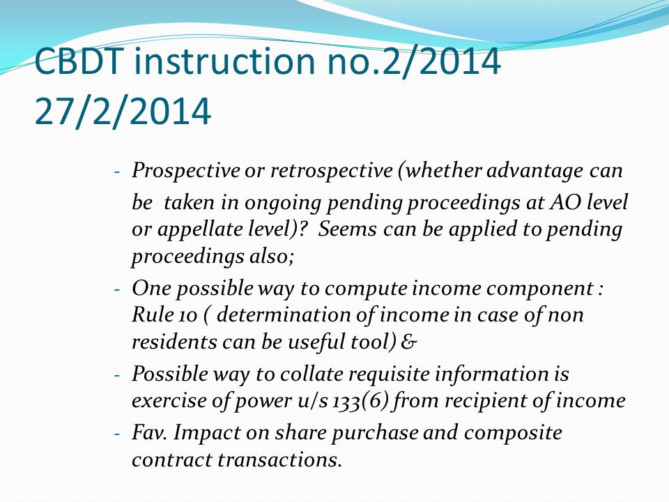 CBDT instruction no.2/2014 27/2/2014